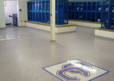 Locker room floor coating